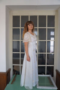 70s Sheer Wedding Dress | Boho Wedding Dress | M:[Past out]:[vintage clothes]