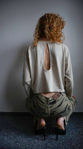 Crop Top | cotton -linen blend | key hole back | M:[Past out]:[vintage clothes]
