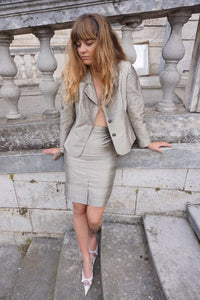 Silver Skirt Suit | Raw Silk | M:[Past out]:[vintage clothes]