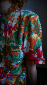 D&G Warm Oversized Shirt | floral | button down | M:[Past out]:[vintage clothes]