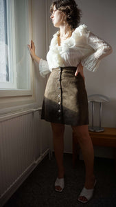 FENDI Zucca Leather Skirt | A line | button down | L:[Past out]:[vintage clothes]