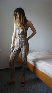 Patent Snake Print Suit | lycra | PVC | vinyl S/M:[Past out]:[vintage clothes]