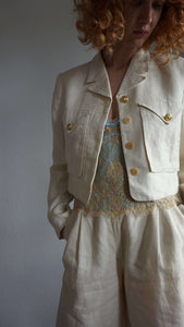 Vintage Versace Linen Blazer | gold medusa buttons | cropped | M:[Past out]:[vintage clothes]