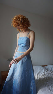 Y2k Prom Dress | corset + skirt set gown  | sequines | M:[Past out]:[vintage clothes]