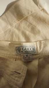 Vintage Gucci Linen Shorts | bermuda pants | high waisted | XS/S:[Past out]:[vintage clothes]