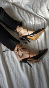 Vintage Baldinini Pumps | Pointed Toe | Ankle Tie Heeled Mules | 38.5
