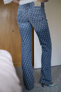 Y2k VERSACE JEANS COUTURE Slightly Flared Pants | monogram | low waist | S/M:[Past out]:[vintage clothes]