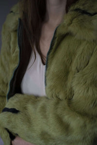 Mini Green Fur Jacket | real fur | S:[Past out]:[vintage clothes]
