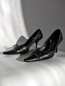 Y2k Christian Dior Bondage Pointed Toe Pumps by John Galliano - Lace up - Rivets - 37