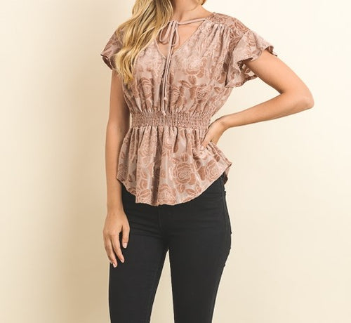 SHEER V-NECK TOP with VELVET FLORAL