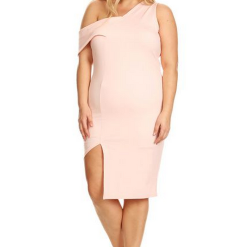 ONE SHOULDER PINK DRESS PLUS SIZE