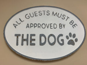 Oval Tin Dog Sign