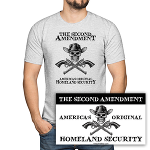 America's Original Homeland Security Pro Gun T-Shirt + FREE Bumper Sticker (MADE IN THE USA)