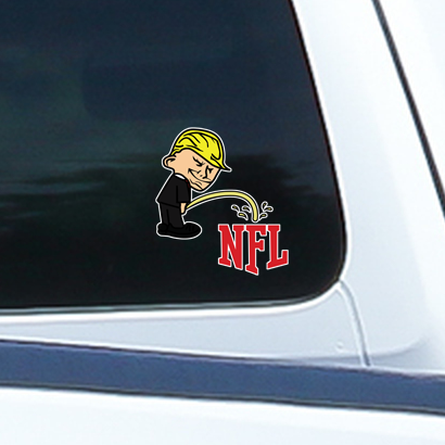 Pi$$ing Trump Badboy NFL Clear Sticker (MADE IN THE USA)