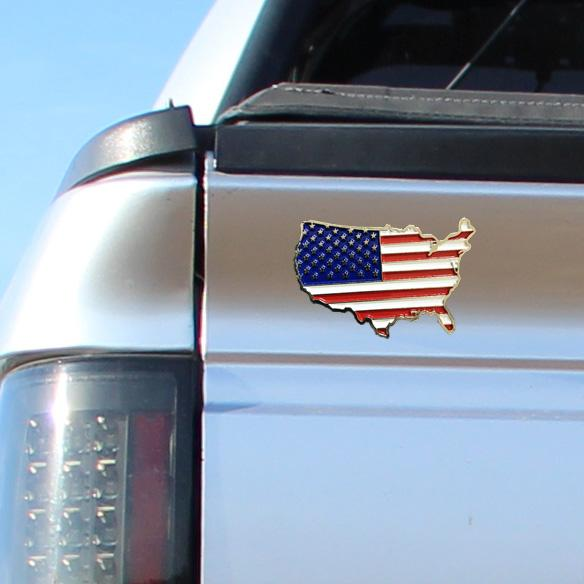 USA Flag Metal Decal