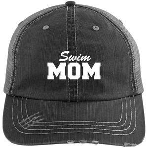 Swim Mom - Distressed Trucker Hat