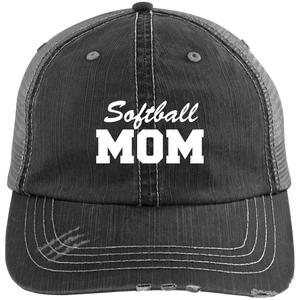Softball Mom - Distressed Trucker Hat