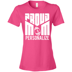 Proud Football Mom - Personalize - Womens Shirt