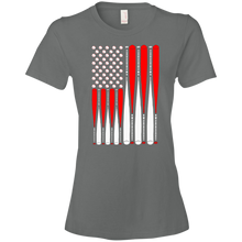 Baseballs and Bats Patriotic Flag - Womens Shirt