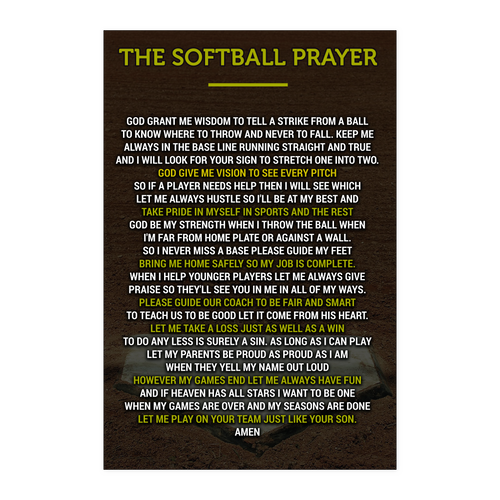 The Softball Prayer Poster