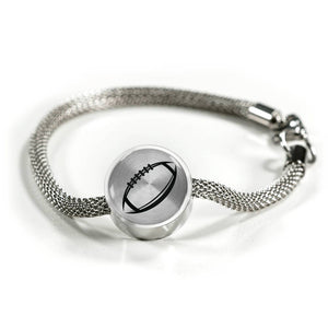 Football Charm Bracelet - Stainless - Personalized Engraved Jewelry