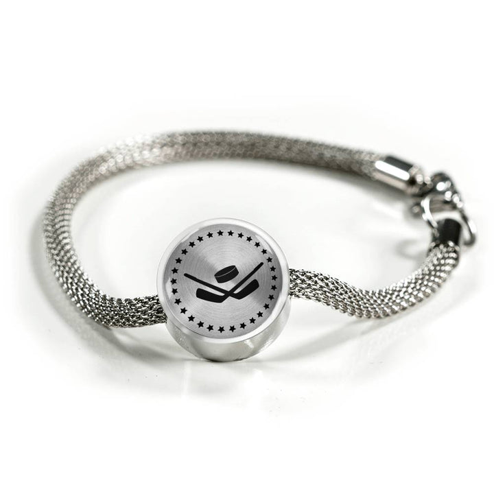 Hockey Charm Bracelet - Stainless - Personalized Engraved Jewelry