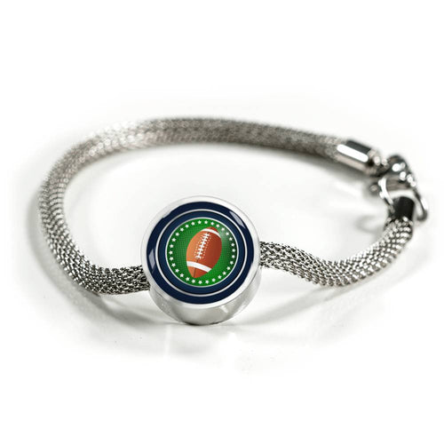 Football Charm Bracelet - Personalized Engraved Jewelry