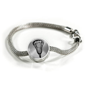 Lacrosse Charm Bracelet - Stainless - Personalized Engraved Jewelry