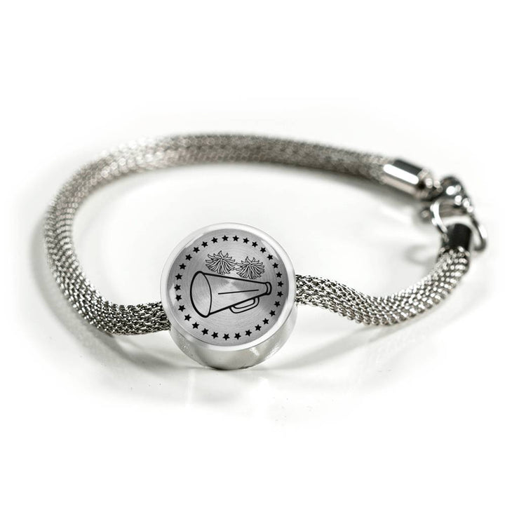 Cheer Charm Bracelet - Stainless - Personalized Engraved Jewelry