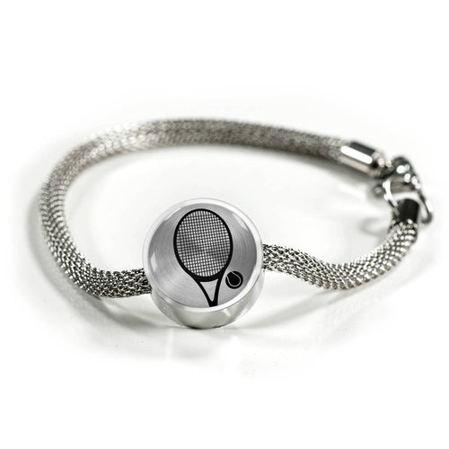 Tennis Charm Bracelet - Stainless - Personalized Engraved Jewelry