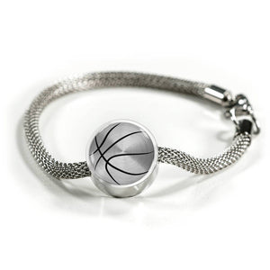 Basketball Charm Bracelet - Stainless - Personalized Engraved Jewelry