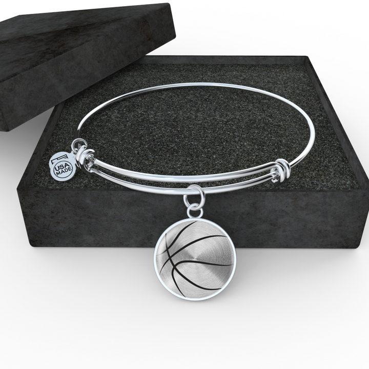 Basketball Mom Personalized Engraved Jewelry - Bangle Bracelet or Necklace
