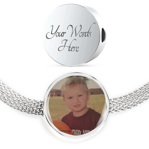 Sports Moms and Fans - Custom Upload - Charm and Bracelet Personalized Engraved Jewelry
