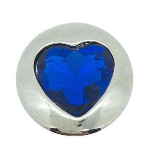 Heart - Silver with Blue Crystal