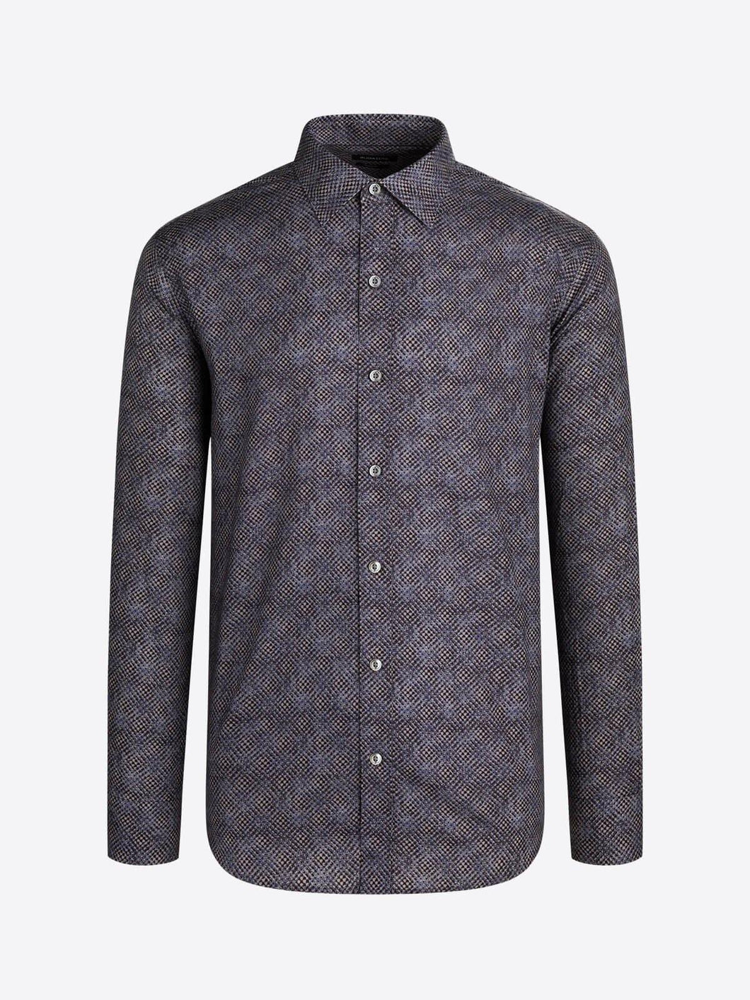 LONG SLEEVE TRELLIS PRINTED COTTON SHIRT