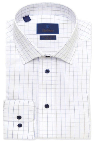 White & Blue Tattersall Non-Iron Dress Shirt