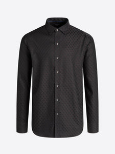 LONG SLEEVE DIAMOND CHECK JACQUARD COTTON SHIRT