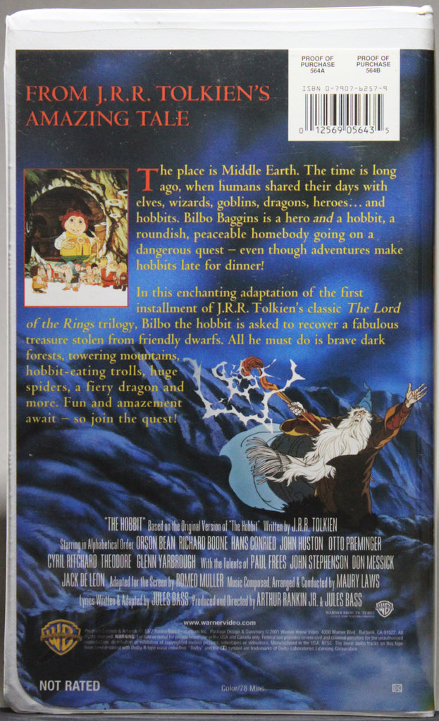 THE FELLOWSHIP OF THE RING (Animated) - VHS (3 cassettes): Warner Home Video, Inc., 2001