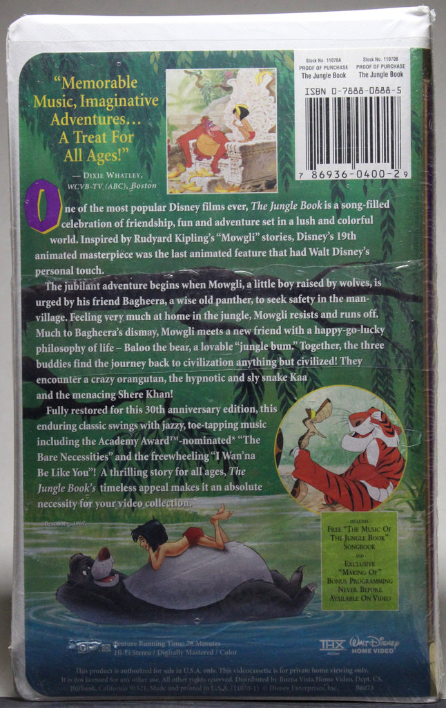 DISNEY MASTERPIECE COLLECTION: THE JUNGLE BOOK 30th ANNIVERSARY - VHS (sealed): Walt Disney Home Video, 1997