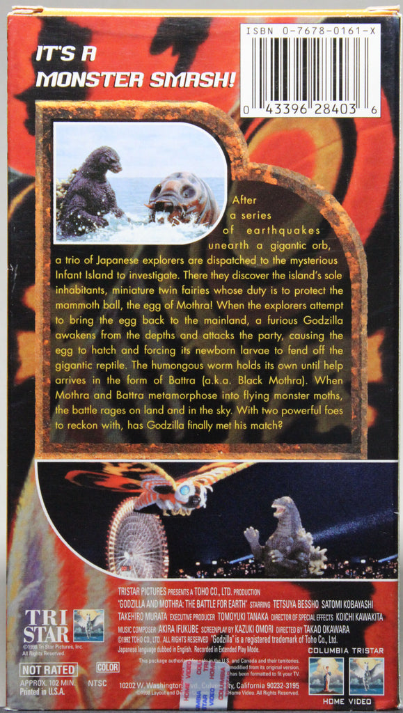 GODZILLA AND MOTHRA: THE BATTLE FOR EARTH - VHS: Columbia Tri Star Home Video, 1998