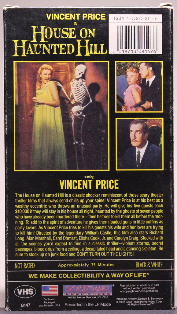 HOUSE ON HAUNTED HILL - VHS: Good Times Home Video, 1990