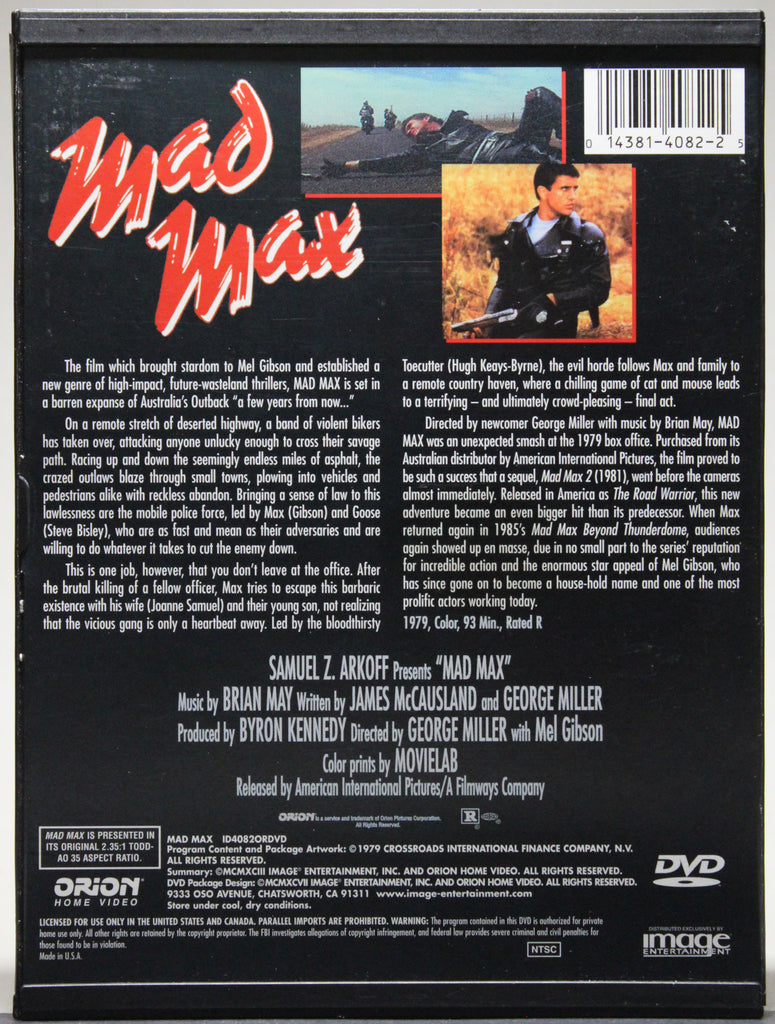 MAD MAX - Snap Case DVD: Orion Home Video, 1997
