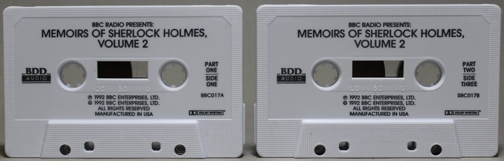 BBC RADIO PRESENTS: Memoirs of Sherlock Holmes Vol. 2 - Audio Cassette