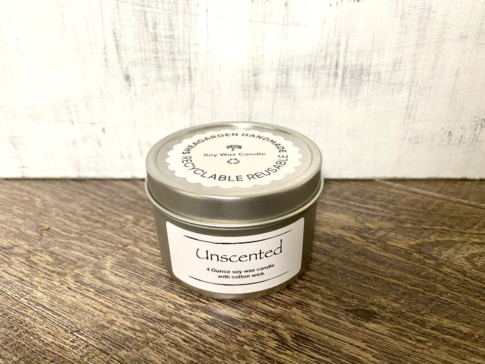 Unscented Soy Wax Candle, Handmade Candle With Reusable Eco Friendly 4 Ounce Tin Holder