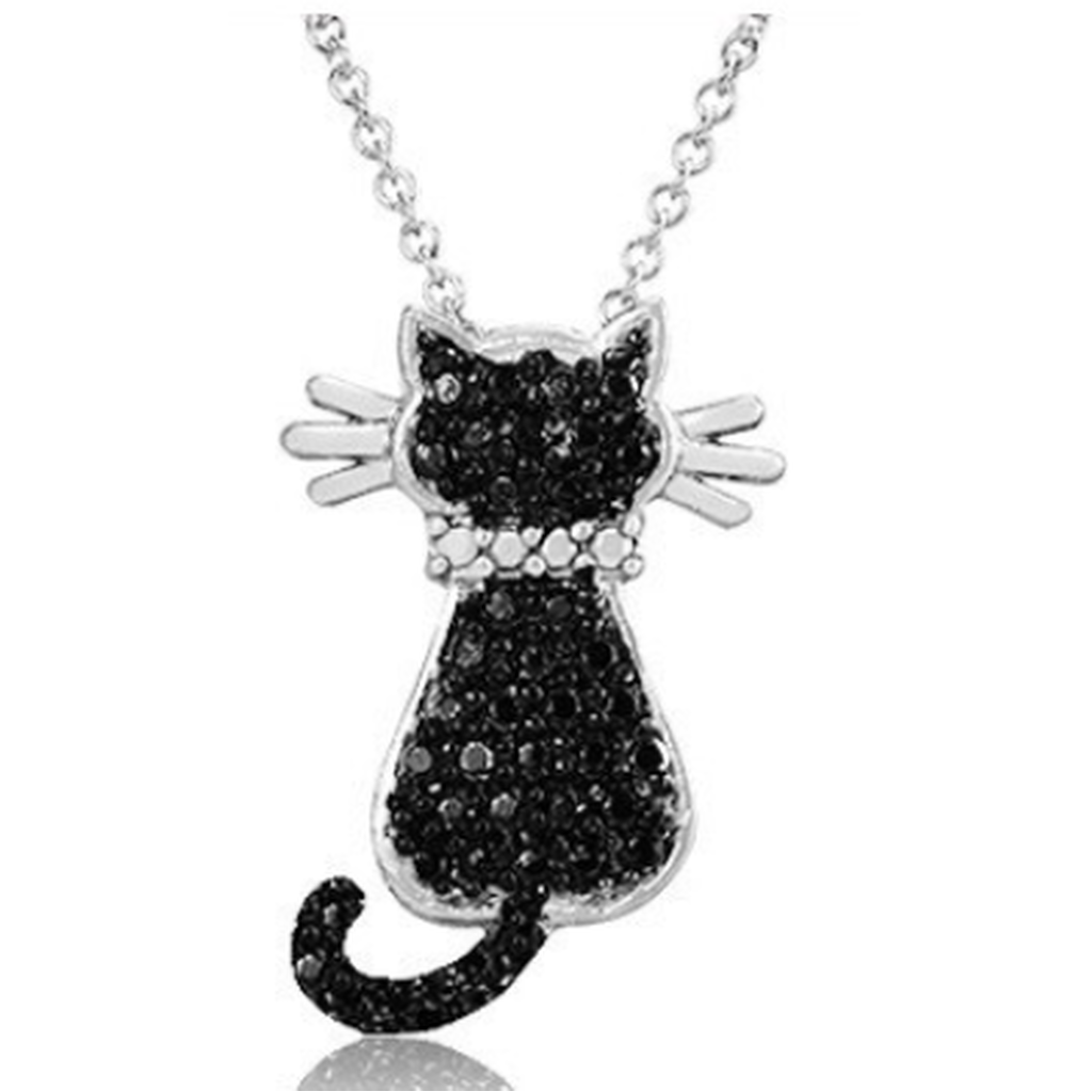 "Silver Overlay Black Diamond Accent Cat Pendant with 18"" Chain (Shipped From USA)"