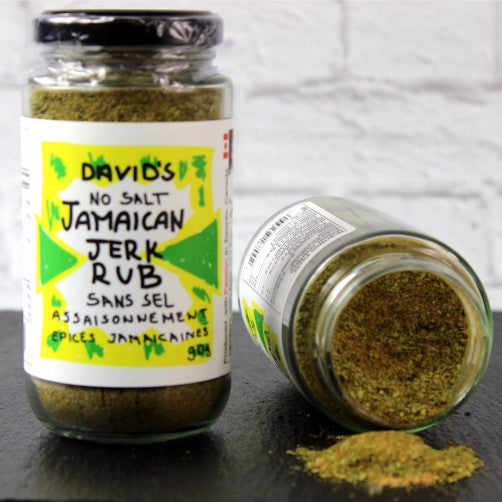 Jamaican Jerk Rub, herbs and spices, thyme and allspice, used for seasoning and in traditional Jerk marinade.