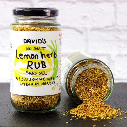 Lemon Herb Rub, citrus flavour, lemon juice, lemon oil, lemon peel, onion, garlic and spices