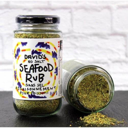 Seafood Rub, fresh herbs and tarragon, lemon, mustard, chives and ginger, lemon juice, extra-virgin olive oil.