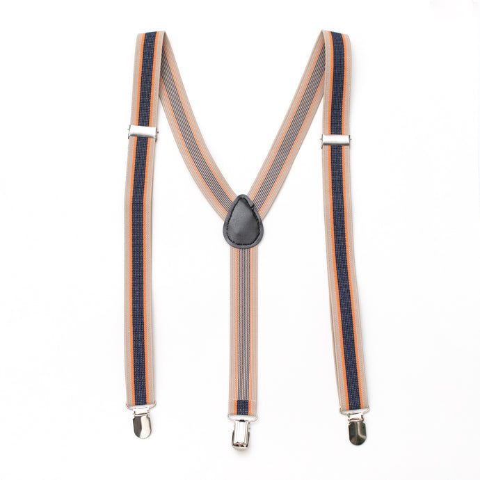 mens suspender orange tan navy stripe