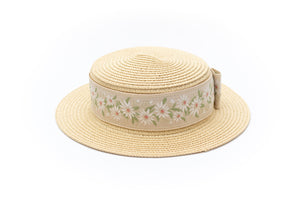 Girls paper straw boater hat with flower ribbon